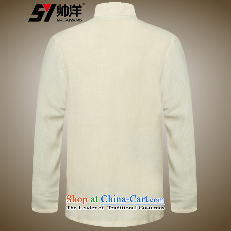 Load the new 2015 Yang Shuai men Tang dynasty long-sleeved shirt collar China wind men's shirts, Chinese gown beige聽180, yang (Shuai SHUAIYANG) , , , shopping on the Internet