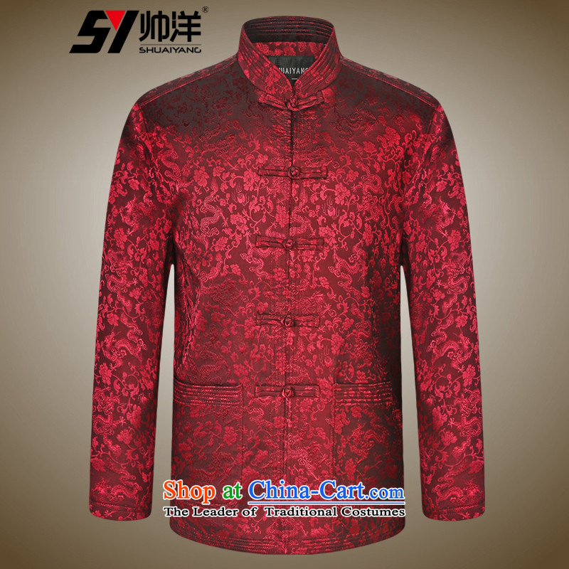 The new 2015 Yang Shuai elderly men jacquard Tang jackets Chinese long-sleeved jacket China wind load spring and autumn wine red聽S