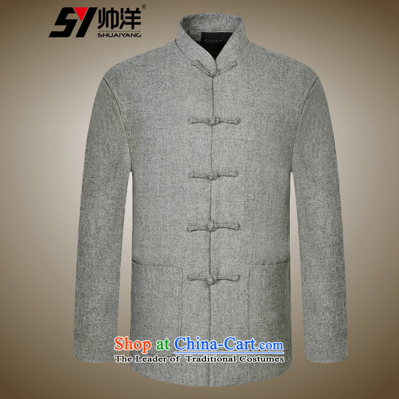 Shuai 2015 men Tang Yang woolen coats a middle-aged China wind collar Chinese long-sleeved jacket gray聽XXL