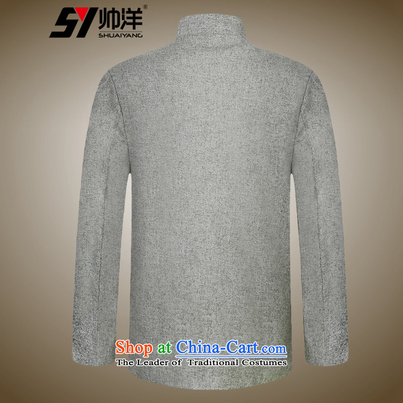 Shuai 2015 men Tang Yang woolen coats a middle-aged China wind collar Chinese long-sleeved jacket gray聽XXL, Shuai Yang (SHUAIYANG) , , , shopping on the Internet