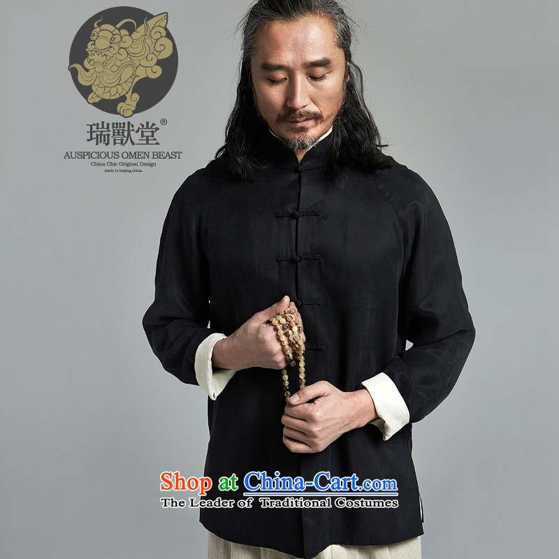 _Rui beast tong- with large_China wind new Chinese Tang casual long-sleeved shirt collar black spot?L