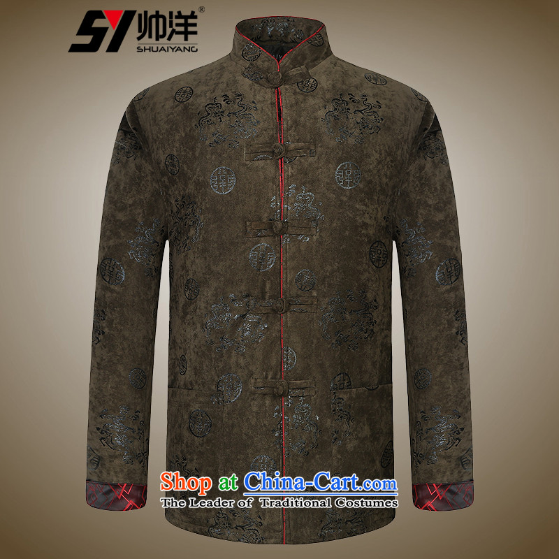 Shuai ocean men Tang dynasty cotton jacket for winter male Chinese robe China wind in older men suede leather pickled national costumes color�0