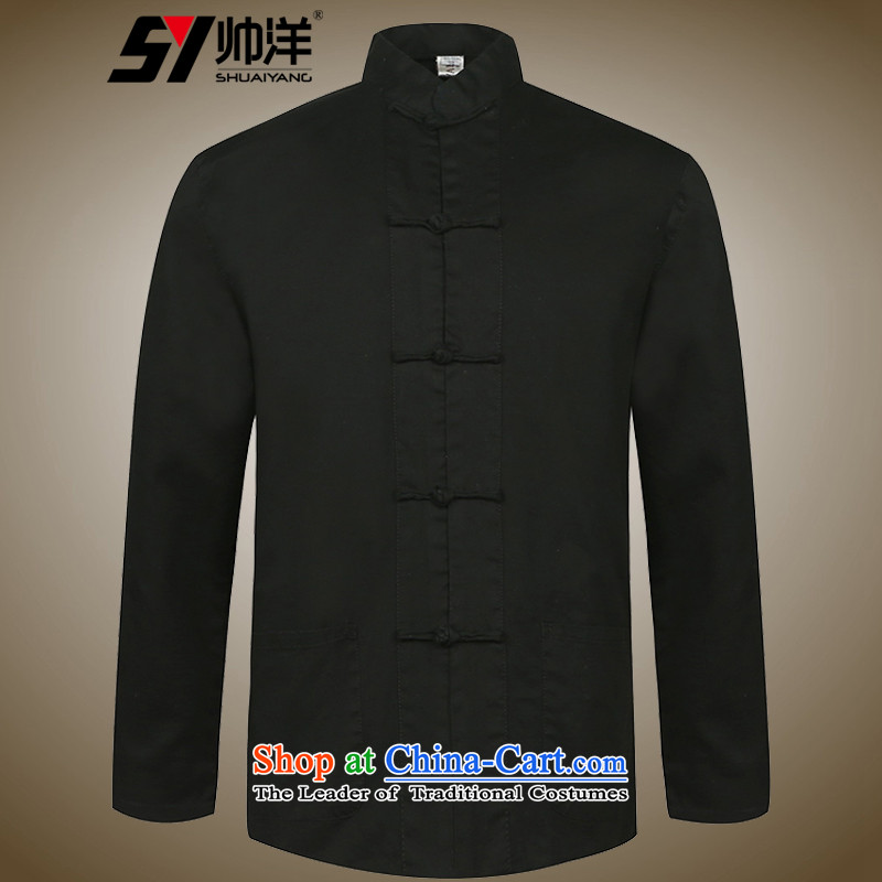The new ocean handsome men cotton Tang long sleeved shirt with China wind Men's Mock-Neck Shirt Spring and Autumn Chinese loose version single-layer disc deduction manually jacket national costumes Black?175