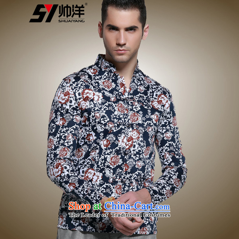 Install the latest Autumn Yang Shuai) Men long-sleeved shirt with TANG Sau San Mock-neck Chinese Antique men China wind cotton shirt manually tray snap stamp Navy Blue?185