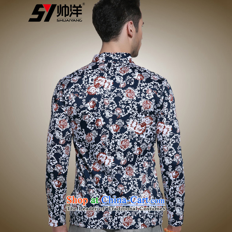 Install the latest Autumn Yang Shuai) Men long-sleeved shirt with TANG Sau San Mock-neck Chinese Antique men China wind cotton shirt manually tray snap stamp navy聽185 (Shuai SHUAIYANG) , , , shopping on the Internet