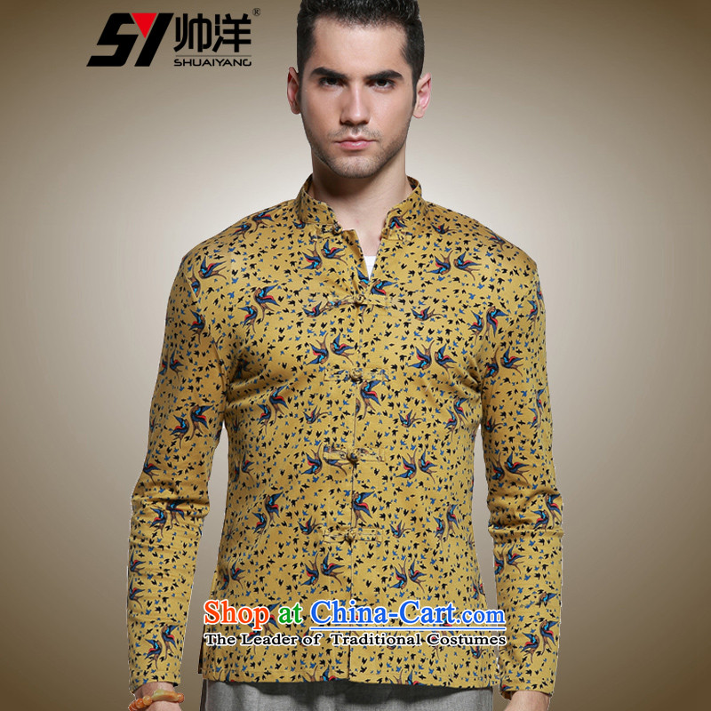 The Ocean 2015 Autumn Load Shuai New Sau San Tong men with long sleeved shirt micro pop-Cotton Mock-Neck Shirt Chinese men China wind retro national costumes yellow聽180