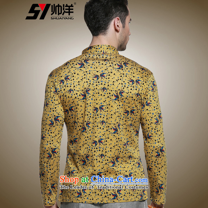 The Ocean 2015 Autumn Load Shuai New Sau San Tong men with long sleeved shirt micro pop-Cotton Mock-Neck Shirt Chinese men China wind retro national costumes yellow聽180, yang (Shuai SHUAIYANG) , , , shopping on the Internet