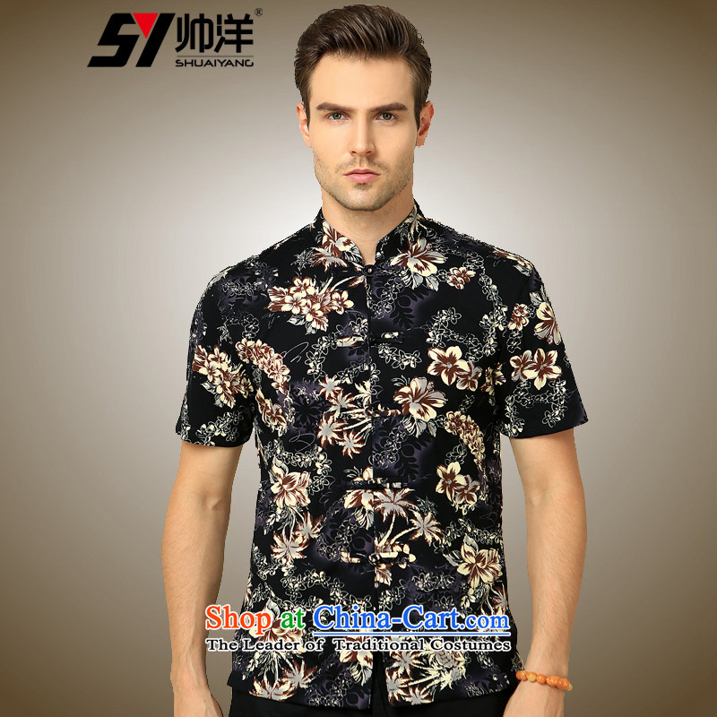 The Ocean 2015 summer cool new cotton-mercerized men short-sleeved shirt Tang Dynasty Chinese Sau San China wind shirt suit聽165