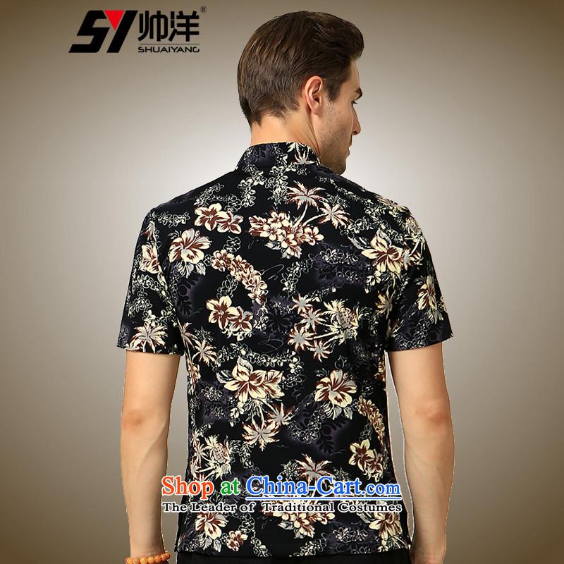 The Ocean 2015 summer cool new cotton-mercerized men short-sleeved shirt Tang Dynasty Chinese Sau San China wind shirt suit聽165, yang (Shuai SHUAIYANG) , , , shopping on the Internet