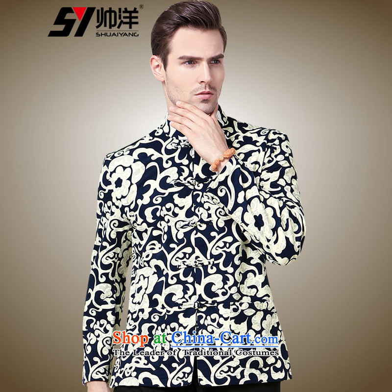 The new 2015 Yang Shuai men Tang China Wind Jacket Xiangyun stamp Mock-neck Tang Dynasty Chinese men and a long-sleeved white�5