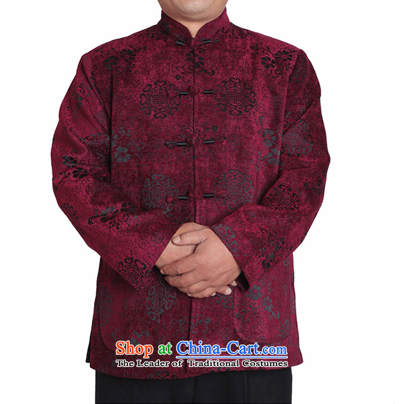 The Cave of the elderly?in the autumn and winter 15 elderly male and Tang jackets jacquard hi field upscale Chinese clothing T9823 T9823 folder, mauve 180 yards cotton