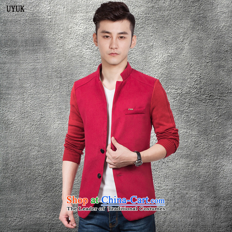 Uyuk2015 autumn and winter New Men Chinese tunic suit Korean male short of Sau San Wind Jacket fall new windbreaker gross clothes for men in the wind? red?L