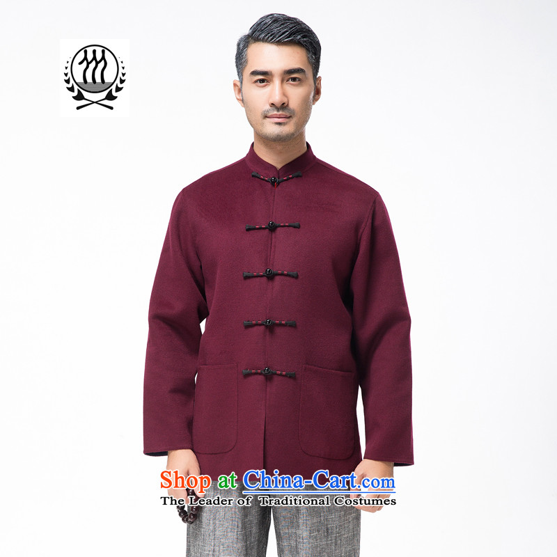 Thre line autumn and winter and the new and old age are pure color gross? Tang blouses exquisite collar disc detained wool blend yarn men?F7791?AUBERGINE?M/170 Jacket