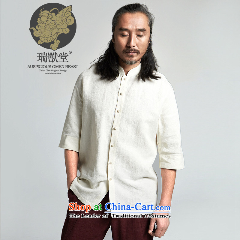 (Rui beast tong health practice concept/China wind Chinese-sleeved cotton linen meteorite tattoo Tang dynasty shirt, beige spot?S