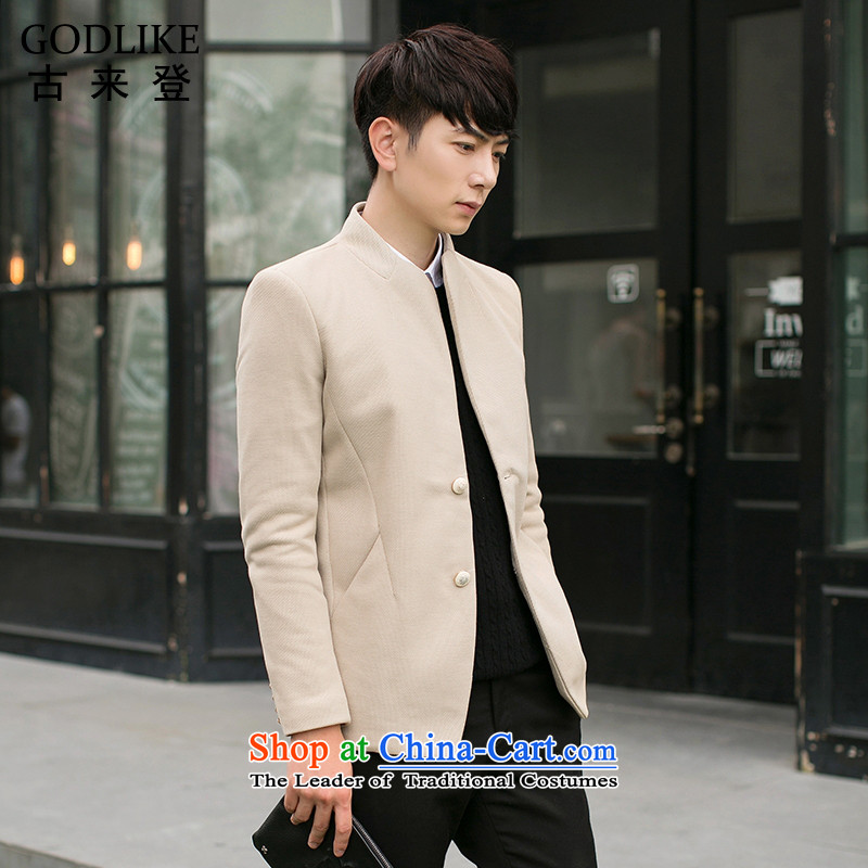 Card will fall 2015 a new sub-Chinese tunic men Korean collar in Sau San long thin coat of men ZSZ02 KHAKI?3XL