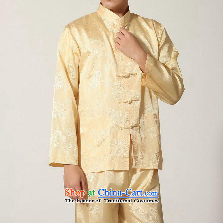 The autumn and winter new national costumes men Tang Dynasty Chinese tunic characteristics of Tang Dynasty outfits clothing kit JSL016YZ M YELLOW聽XXL