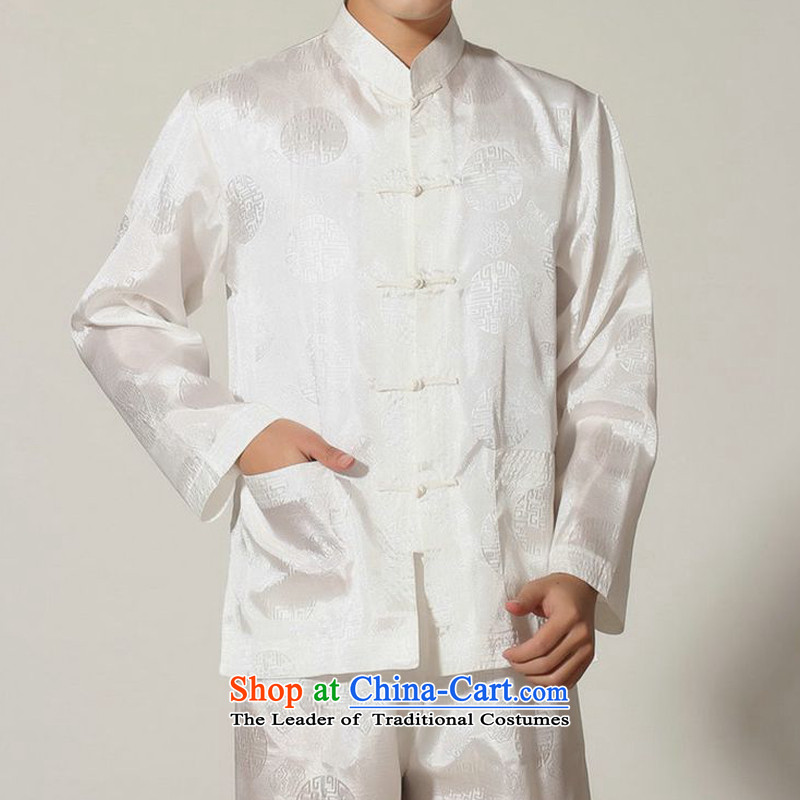 The autumn and winter new national costumes men Tang Dynasty Chinese tunic characteristics of Tang Dynasty outfits clothing kit JSL016YZ White?XXL
