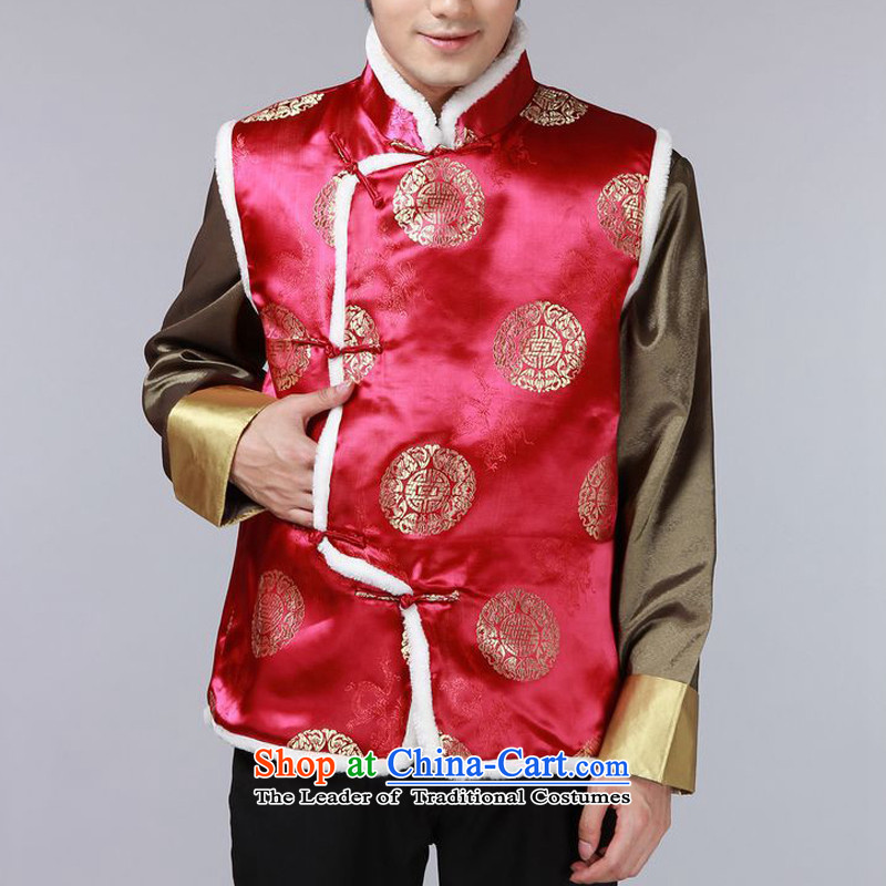 The autumn and winter new national costumes men Tang Dynasty Chinese tunic characteristics for winter clothing Chinese vest JSL015YZ wine red?L
