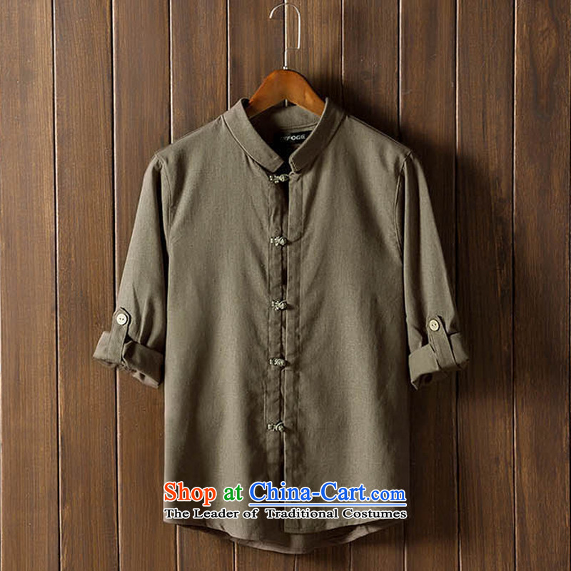 The autumn and winter new national costumes men Tang Dynasty Chinese tunic characteristics of nostalgia for the Tang dynasty men wearing army green聽5XL JSL022YZ
