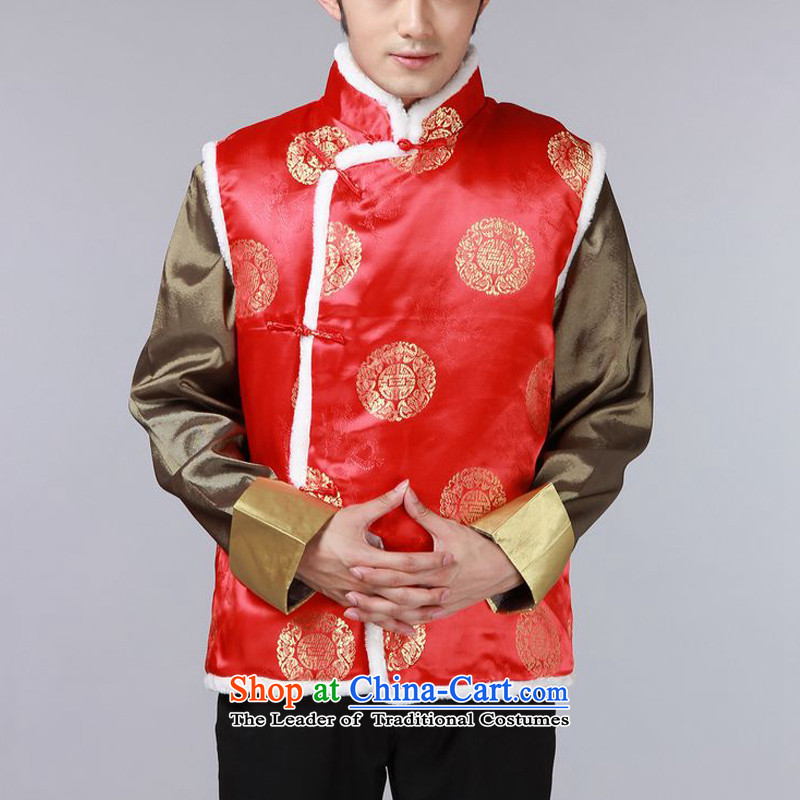 The autumn and winter new national costumes men Tang Dynasty Chinese tunic characteristics for winter clothing, a Chinese JSL015YZ large red XL