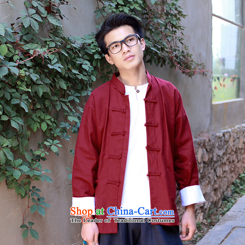 The autumn and winter new national costumes Tang dynasty men wearing long-sleeved jacket features Chinese tunic Tang JSL019YZ RED?XXL