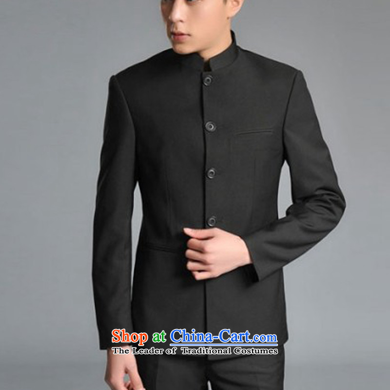 The autumn and winter new national costumes men Tang Dynasty Chinese tunic characteristics clothing collar Sau San JSL013YZ male black?M double thick)