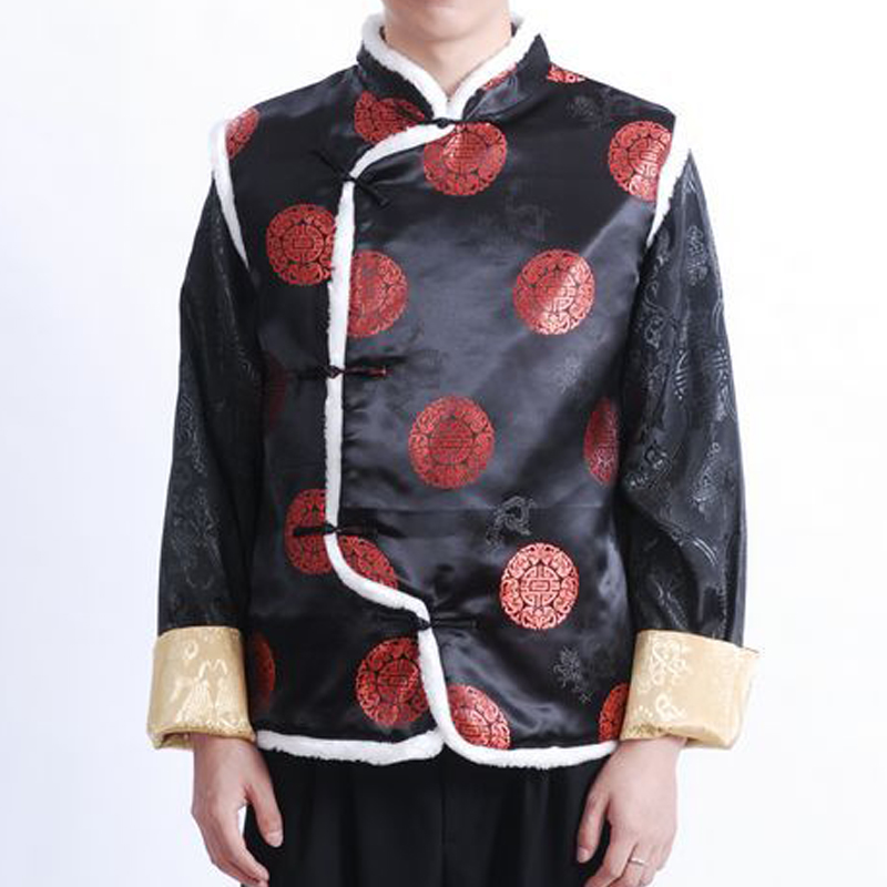 The autumn and winter new national costumes men Tang Dynasty Chinese tunic characteristics for winter clothing Chinese vest JSL015YZ Black聽XL