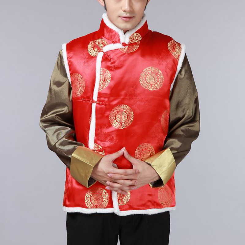The autumn and winter new national costumes men Tang Dynasty Chinese tunic characteristics for winter clothing Chinese vest JSL015YZ Black聽XL, Spring Latitude , , , shopping on the Internet