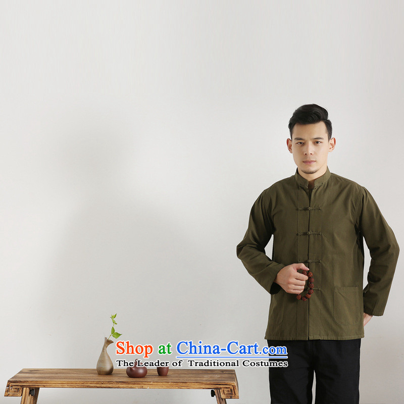 The autumn and winter new national costumes men Tang Dynasty Chinese tunic characteristics clothing Tang dynasty male Han-long-sleeved JSL017YZ Army Green?175