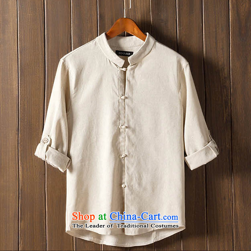 The autumn and winter new national costumes men Tang Dynasty Chinese tunic characteristics of nostalgia for the Tang dynasty men wearing JSL022YZ聽5XL Beige