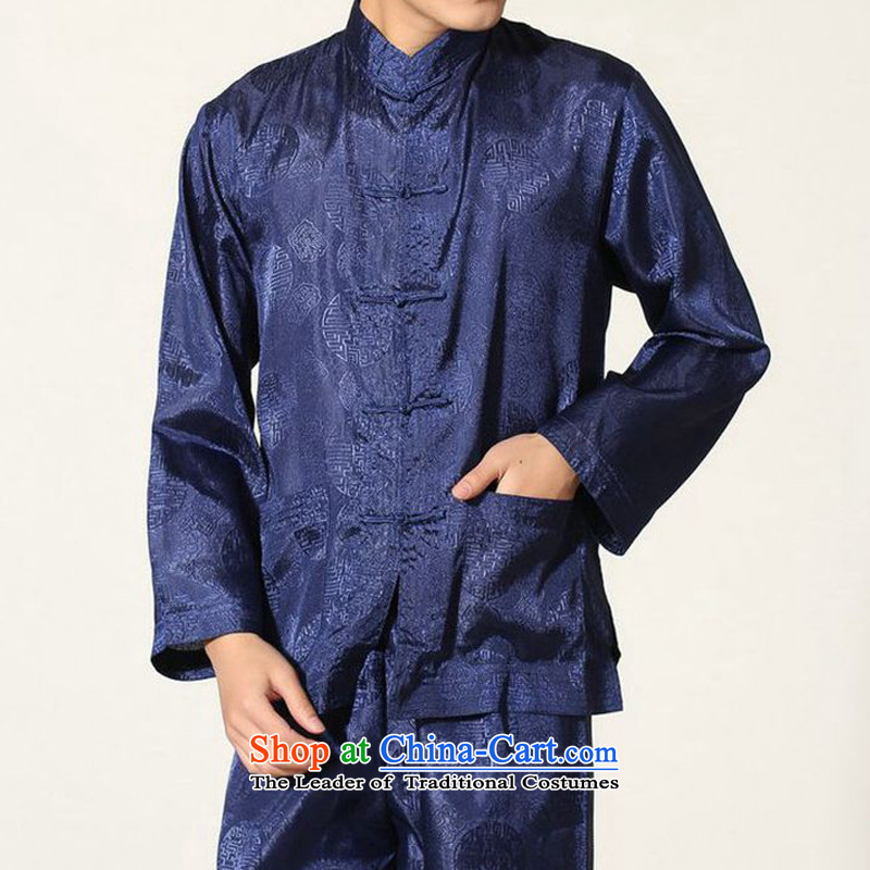 The autumn and winter new national costumes men Tang Dynasty Chinese tunic characteristics of Tang Dynasty outfits clothing kit JSL016YZ navy聽XL