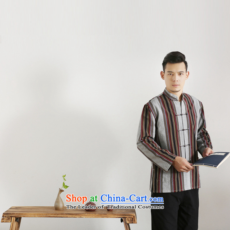 The autumn and winter new national costumes men Tang Dynasty Chinese tunic characteristics clothing Tang dynasty male Han-long-sleeved JSL017YZ gray bars聽190