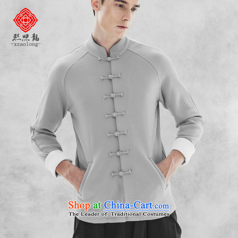 Hee-snapshot lung national costumes men Chinese Antique Knitting Tang dynasty China wind-shoulder-sleeved T-shirt and gray long-sleeved sweater?XL