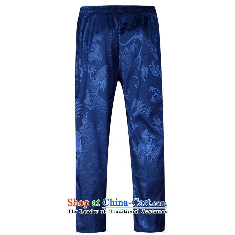The new man Tang pants Chinese trousers China wind spring and autumn national costumes and trousers practicing trousers Blue聽185
