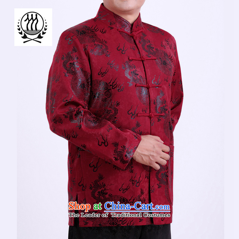 Thre line autumn and winter and new men satin Tang jackets of ethnic Chinese national costume auspicious dragon father grandfather replacing F1282 red winter)�M/170
