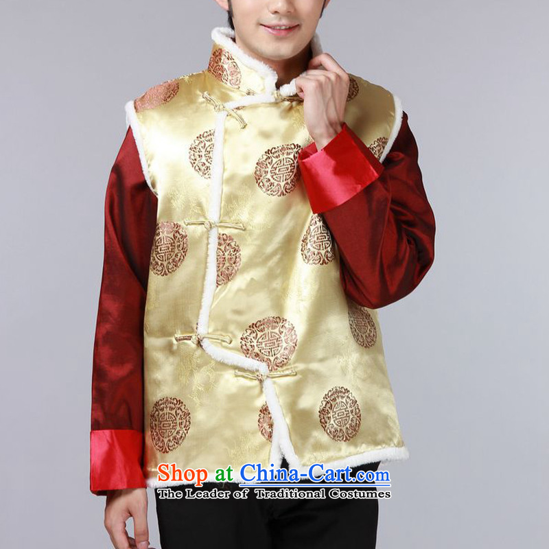The autumn and winter new national costumes men Tang Dynasty Chinese tunic characteristics for winter clothing Chinese vest JSL015YZ YELLOW�L