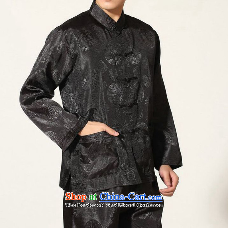 The autumn and winter new national costumes men Tang Dynasty Chinese tunic characteristics of Tang Dynasty outfits clothing kit JSL016YZ black?M