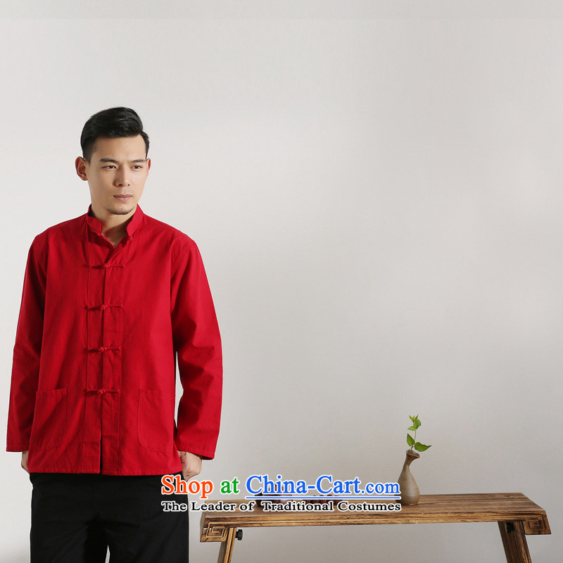 The autumn and winter new national costumes men Tang Dynasty Chinese tunic characteristics clothing Tang dynasty male Han-long-sleeved JSL017YZ Red 165