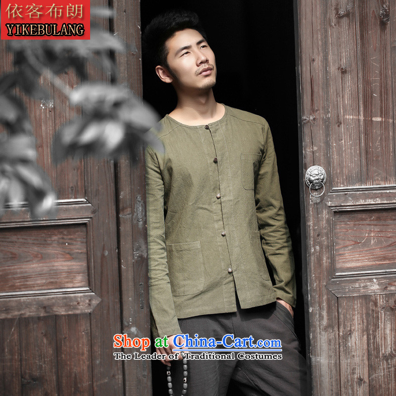 In accordance with the cultural and arts retro shirts, brown male China wind characters long-sleeved linen cotton tie-neck shirt light dark green�M