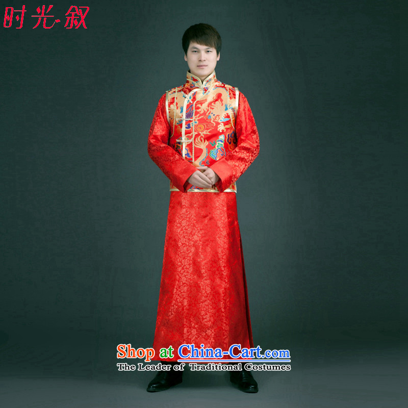 Time the new Syrian, Sau Wo service men Chinese wedding dress the bridegroom longfeng use bows to Sau San Tong replacing Chinese tunic Red Red?M