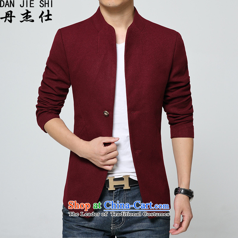 Dan Jie Shi?Tang Dynasty Chinese tunic 2015 Summer thick_. Long stand collar single row detained men?? coats jacket?3XL wine red