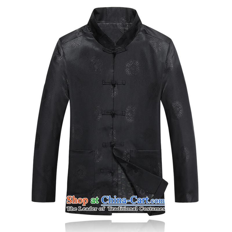 Bosnia and the elderly in the autumn thre line new park well field Tang Dynasty Package of ethnic Chinese Han-Men's Mock-Neck Tang Jacket Kit installed F8803 father聽XXXL_190 black