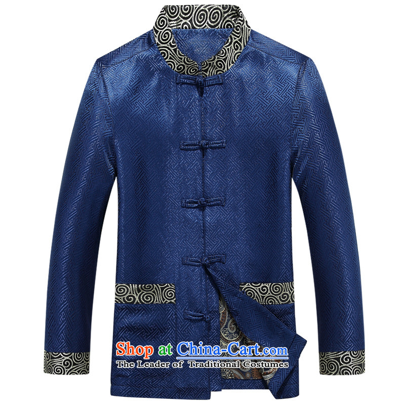 Bosnia and the spring and autumn new line thre men long-sleeved Tang dynasty China wind Chinese embroidery dress in older collar disc Tang Dynasty Show?F88021 detained and?contemptuous of blue?XL