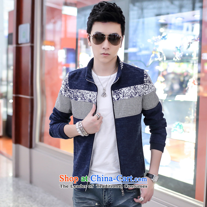 Grass cloth rattan Tang dynasty men fall and winter leisure China Wind Jacket coat Men's Mock-Neck 1906 Sau San Po Blue Book_?XXXL