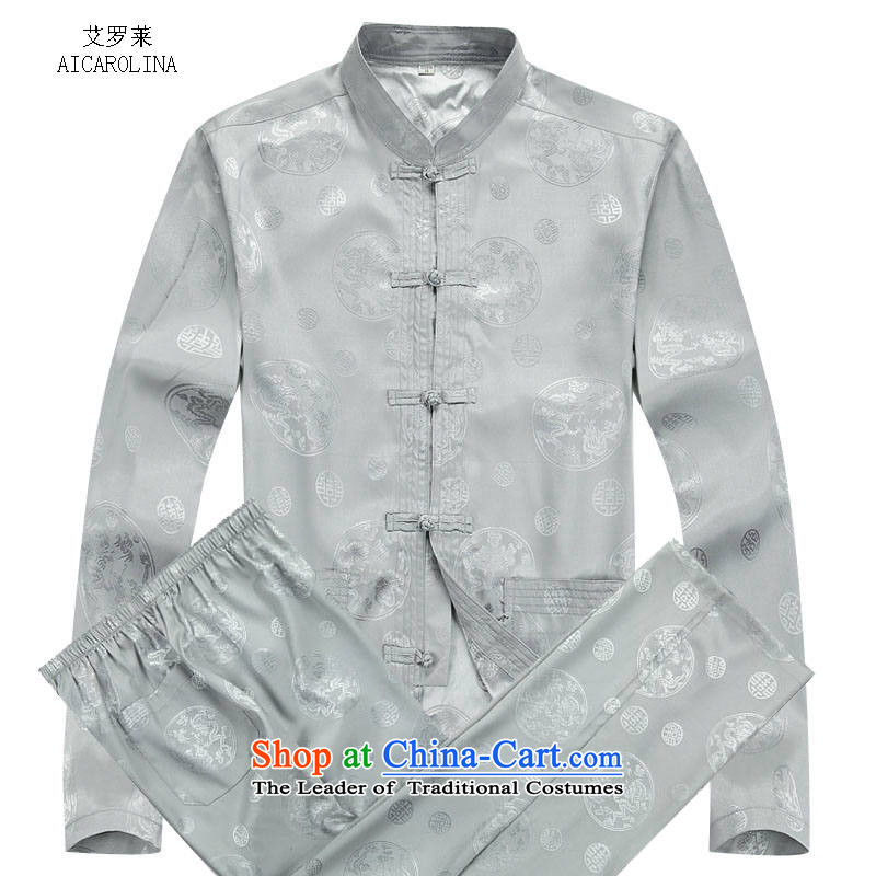 Hiv Rollet?2015 autumn and winter in the new elderly men Tang Gown of older persons for autumn and winter clothes for men kit gray suit?XL/175