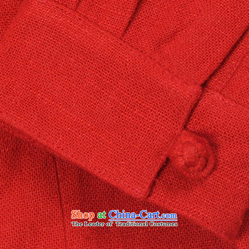 Renowned China wind up detained men Tang long-sleeved red male Han-linen leisure men loose Autumn Chinese red shirt cotton linen聽2XL, renowned (CHIYU) , , , shopping on the Internet