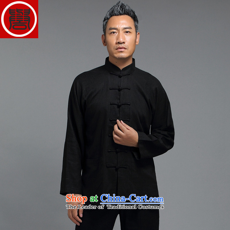Renowned Tang dynasty male Han-improved Chinese men fall long-sleeved sweater collar China wind men tray clip black shirt聽3XL