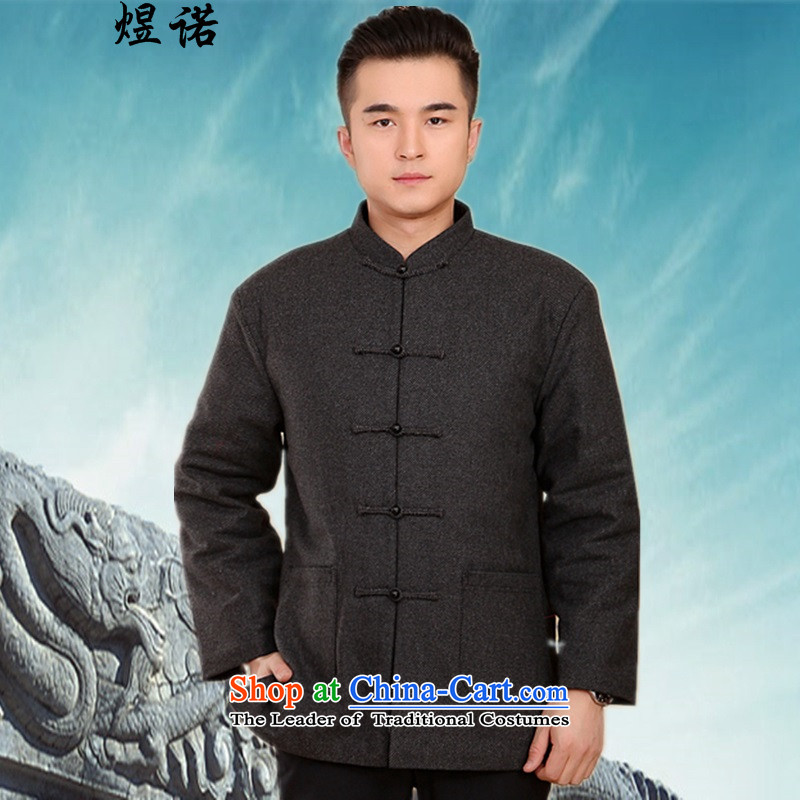 Familiar with the new Fall/Winter Collections of men in older men robe Tang Dynasty ?t��a Chinese long-sleeved shirt men's cotton coat jacket thick coat long-sleeved shirt with?2046 carbon?L/170 Dad