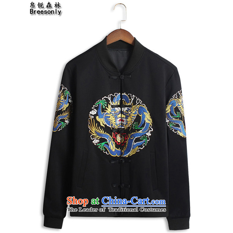 8Vpro Forest (breesonly) national costumes and the spring and autumn jacket coat China wind arithmetic collar disc detained men?JK110 jacket?black?XXL