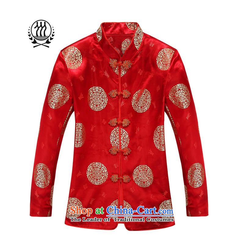 Thre line autumn and winter and the new elderly couples replacing Tang jackets China wind Park Hee-chinese dresses auspicious long-sleeved mom and dad too shou golden marriage birthday gift red women?175 female)